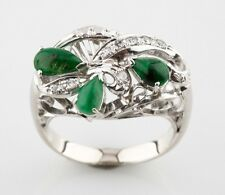 Cabochon Jadeite and Diamond 10k White Gold Cluster Ring Size 5.75