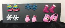 6 Pairs Stud Earrings Kids Jewelry Winter Snowflakes Cocoa Boots Hat NEW