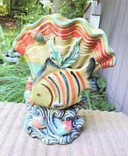 New listing Vintage Porcelain Ceramic Tropical Fish Sea Shells & Plants Flower Planter Vase