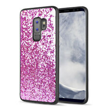 SAMSUNG GALAXY S9 PLUS G965 HOT PINK CHUNKY GLITTER MAGNETIC BACK CASE COVER