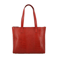Red Croco Embossed 100% Genuine Leather Shoulder Bag with Wristlet Clutch