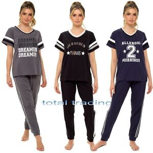Ladies womens cotton pyjamas NIGHTWEAR SLEEP loungewear pjs varsity wear set