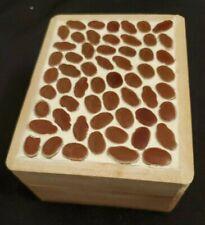 Vintage Japan Small Wood Trinket Box Mosaic Bean Tile Top Hand Made