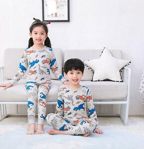 Pure Cotton Girls Boys Sleepsuit Pyjama Set Bodysuit Blue Dinosaur Kids Snug Fit