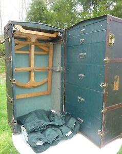 Antique 1915 Oshkosh Steamer Trunk Wardrobe & Keys Owner Charles Latham IN