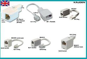 Telephone Line Adapter BT Fax Modem RJ11 RJ45 Phone Socket Male Female Converter