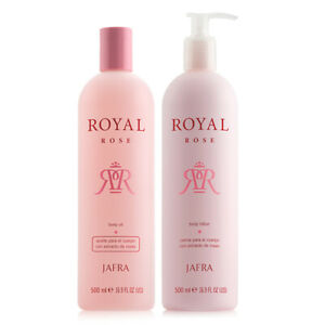 Jafra Royal Rose Rich Body Oil & Lotion  2 PIECE Set 16.9oz EACH  DISCONTINUED.