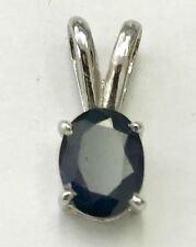 14k Solid white gold Natural Oval Sapphire pendant solitaire 1.00 ct