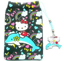 Hello Kitty on Dolphin MP3 iPod Camera mobile phone Sock/Pouch +Charm Gift Set