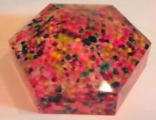 VINTAGE LUCITE PAPERWEIGHT; HEXAGON SHAPED; FORAL CONFETTI;(2435)