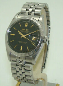 VINTAGE ROLEX MEN's STAINLESS STEEL 36mm DATEJUST 6605 AUTOMATIC WATCH c. 1958
