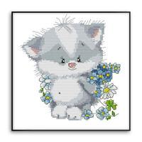 1Set Cross Stitch Kit Katze mit Blumenmuster Stickerei Needlepoint Craft