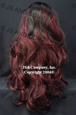 Sexy Luscious Layered extra long WIG WAAH 1B-39 Off Black with Burgundy Mix