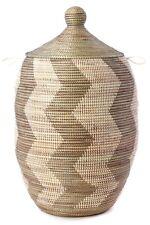 Extra Lg Silver & White Zig Zag Hamper - Swahili Modern - African - Fair Trade