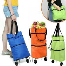 Reusable Foldable Shopping Trolley Bags Cart On Wheels Handbag Storage Food