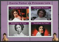 Chad Star Wars Stamps 2019 MNH Princess Leia Carrie Fisher Film Movies 4v M/S