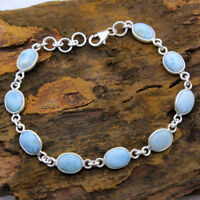Dominican Republic Larimar Solid 925 Sterling Silver Statement Bracelet 7.75""