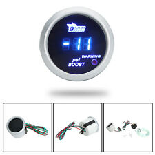"2"" 52MM -14~29 PSI BLUE LED DIGITAL TURBO BOOST GAUGE SENSOR CAR TRUCK SILVER UK"
