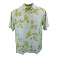 New Mens Tommy Bahama Etched in Time Short Sleeve Hibiscus Camp Shirt Medium