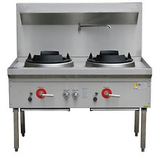New Waterless Commercial Gas Wok 2 Burner Cooker Stove Heavy Duty, Shop Approved