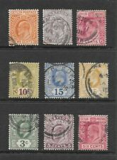 1901 King Edward VII collection of 9 stamps  Used CEYLON