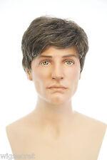 Chestnut Brown with 25% Grey Grey Medium Straight Men Wig