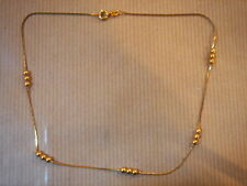 CHAINE PLAQUE OR MAILLE BOULE LONG 35 CM 4 G VINTAGE NEUF/NEW GOLD PLATED CHAIN