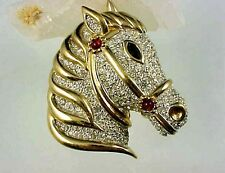 VINTAGE GOLD PLATED  RHINESTONE HORSE HEAD BROOCH PIN SIGNED PANETTA