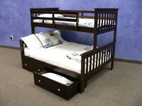 Solid Wood ESPRESSO Twin Over FULL Bunk Bed w/ Storage Drawers - HOUSTON ONLY!