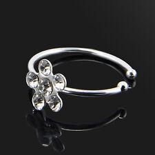 Punk Flower Crystal Nose Ring Stud Hoop-Sparkly Zircon Body Piercing Jewelery