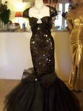 DRAG QUEEN SEXY stage BLACK SEQUINS Dress Gown Costume 1X 2X  16-18-20