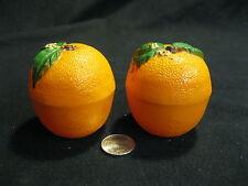 Vintage Plastic Upright Orange Citrus Fruit Salt and Pepper Shakers           85