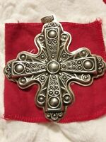 1972 Reed & Barton Sterling Silver Christmas Cross Christmas Ornament 3.5 Inch