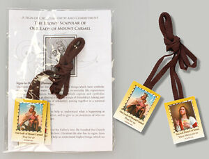 Brown Scapular Of Our Lady Of Mount Carmel with colour pictures and leaflet