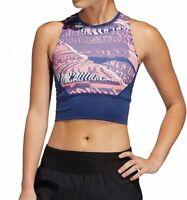 Adidas Womens Sports Bra Blue Multi Size Large L Mesh Printed Racerback $35 979