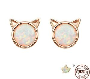 Beautiful  925 Sterling Silver Rose Gold Plated Cat Shaped Opal Stud Earrings