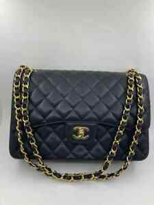 Chanel Classic Medium Double Flap Quilted Caviar Bag