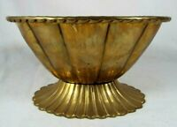 Vintage Brass Scalloped Edge Pedestal Bowl Compote Planter Flower Pot