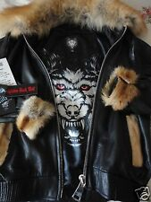 AVIATOR FLIGHT JACKET WOLF 🐺 BOMBER LEATHER PILOT FUR MEN SKELETON,FOX,RUBY,XL*
