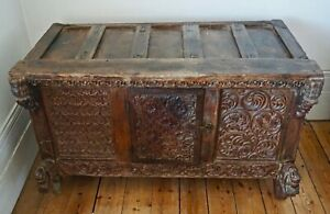 Antique Carved  Indian Wooden Dowry Chest