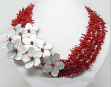 Charming ! natural red coral shell flower necklace JN1046