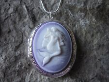 MERMAID ON LAVENDER, PURPLE CAMEO SILVER PLATED LOCKET - VACATION, TROPICAL