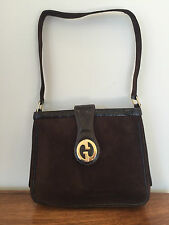 Vintage 1973 GUCCI GG Clasp Lizard and Brown Suede Leather Shoulder Bag Purse