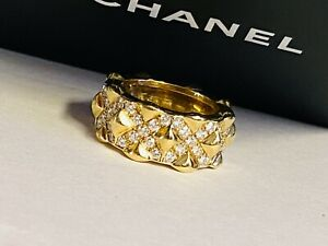 Chanel 18K Solid Gold & Diamond Quilted Ring