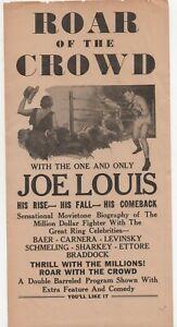 "1953 Movie Flier for "" Roar of the Crowd "" Life of Boxer Joe Lewis"