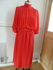 Vintage red 3/4 sleeves high neck tie belt fully lined midi dress size 12
