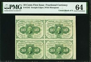 1st Issue 10¢ Uncut Block of (4) Postage Currency w/plate #31 on Reverse~PMG64