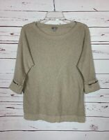 J.Jill Women's S Small Beige 3/4 Sleeves Sheer Lightweight Spring Sweater Top