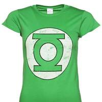 Green Lantern - Distressed Logo Ladies Fit T Shirt Size:S,M,L - NEW & OFFICIAL