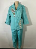 Bob Mackie Wearable Art Womens Teal Outfit Butterflies Blazer Pants Large New